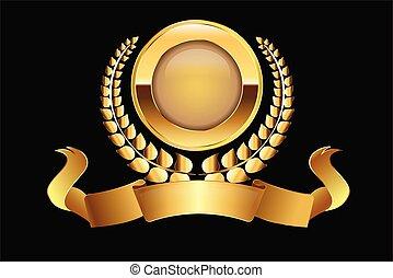 金メダル, ベクトル, 月桂樹, ロゴ, リボン