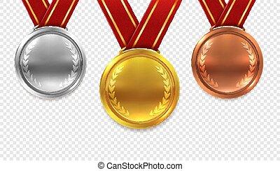 金メダル, set., 隔離された, コレクション, 銀, 現実的, ベクトル, 銅, 背景, リボン, 透明, メダル, 赤