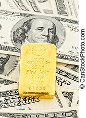 金地金, 上に, ドル札
