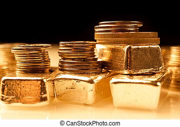 金塊, 金融, 金, 銀行業, concept., コイン。, 取引しなさい, metals., 背景, とても, 山