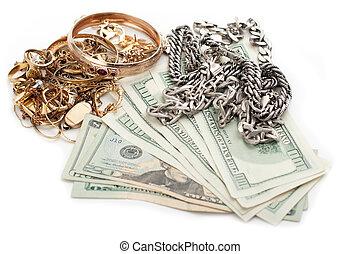 金子, 碎片, 美元, 现金, 堆, 银