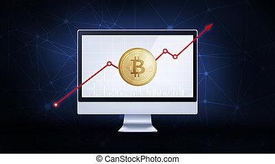 金子, bitcoin, chart., 公牛, 硬币, 股票