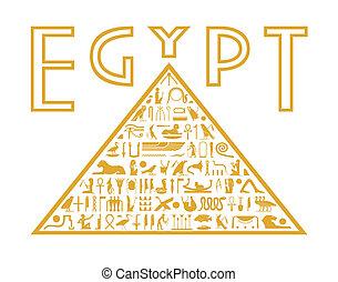 金字塔, ......的, the, 象形文字