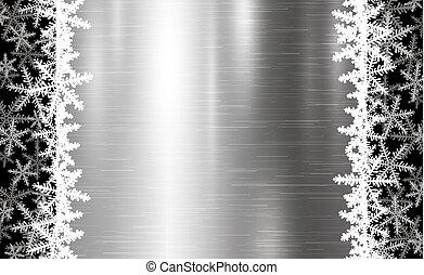 金属, イラスト, クリスマス, ベクトル, デザイン, 背景, 雪片
