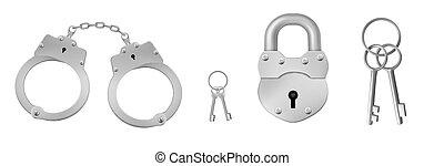 金属, キー, ナンキン錠, 手錠