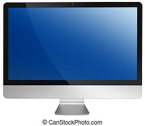 金属, コンピュータ, 平らスクリーン, パネル