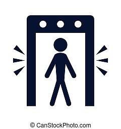 金属, シルエット, 探知器, ドア, 人間