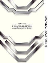 金属, フライヤ, デザイン, 銀, 灰色, ストライプ, hi-tech