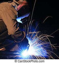 金属, 保護である, 労働者, マスク, 溶接
