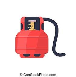 金属, 圧縮された, 貯蔵, 隔離された, ガス, stove., ブタン, 産業, 可燃性, バックグラウンド。, 赤, タンク, ベクトル, balloon, 平ら, プロパン, シリンダー, 小さなかん, lng, valve., illustration., 白