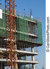 金属, 建物。, construction., multi, サイト, sky., に対して, 建設, 青, クレーン, 使用, 建物, 貯蔵, タワー, 未完成