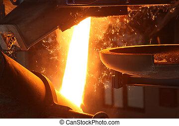 金属, 注がれた, 鋳物工場, 溶けている
