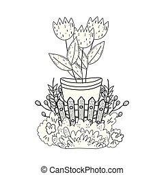 金属, 花, バケツ, 庭
