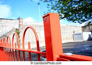 金属, 赤, フェンス