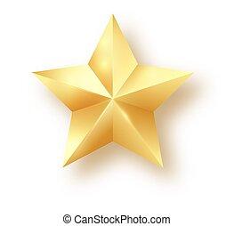 金属, 金, 隔離された, 装飾, 星, クリスマス, 金, バックグラウンド。, 光沢がある, 白, color.