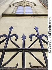 金属, 門, 中に, a, 教会