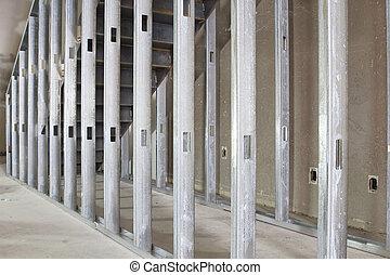 金属, 間柱, 枠組み, 中に, コマーシャル, スペース