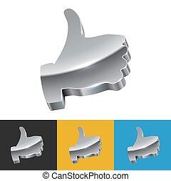 金属, 3d, 印, の上, 親指