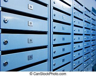 金属, postboxes, (toned, 中に, blue)