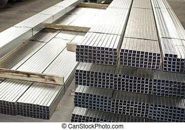 金屬板, 外形, 在, 生產, 大廳