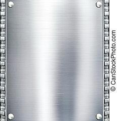 金屬盤子, 鋼, 背景。