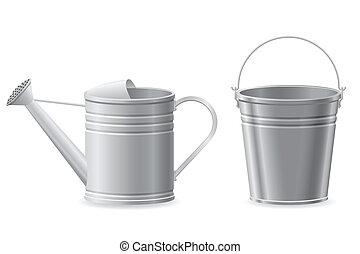 金屬, 上水, 水桶, 插圖, 矢量, 罐頭