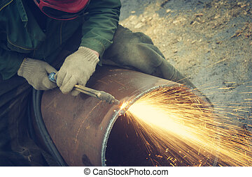 金屬, 切, 乙炔, torch.