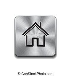 金屬, 按鈕, 由于, 家, 圖象