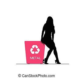 金屬, 插圖, 罐頭, 再循環, 女孩, 垃圾