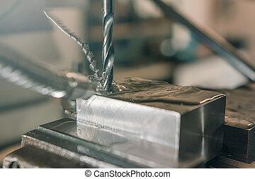 金屬, 操練, closeup., 金屬, workshop.