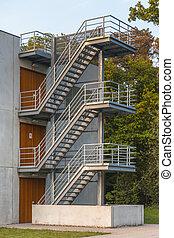 金屬, 樓梯, 緊急事件, 逃跑