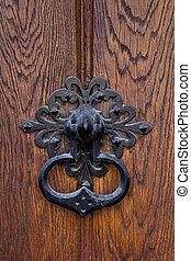 金屬, 處理, 上, a, 木制的門