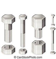金屬, 螺栓, 以及, 堅果