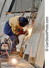 金屬, 裡面, 工人, 造船厂, 碾