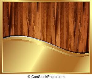 金屬, 金, 框架, 上, a, 木制, 背景, 8