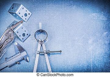 金屬, 鎖鉗子, 由于, 顎, 滑動, 卡尺, 角度, 酒吧, construc