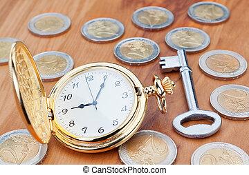 金币, 观看, keys., 口袋, 背景, 欧元