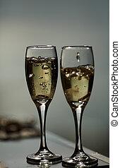 金戒指, 在, 香檳酒, 關閉, 香檳酒, 聖誕節, 瓶子, 酒精, 慶祝事件