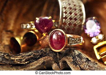 金戒指, 由于, 粉紅色, 卵石