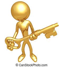金色, 握住, 钥匙