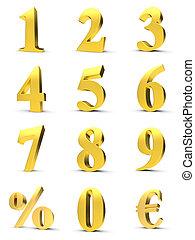金色, 数字