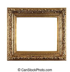 金色, 框架, 老, 白的背景