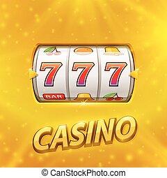 金色, 狭缝机器, 取得胜利, the, jackpot.