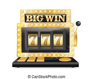 金色, 狭缝机器, 取得胜利, the, jackpot., 幸运七, 在中, 赌博, 游戏, 隔离, 在怀特上, 背景。, 娱乐场, 大, 取得胜利, 狭缝机器, 矢量, 描述