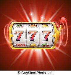 金色, 狭缝机器, 取得胜利, the, jackpot., 隔离, 在上, 红, 背景。