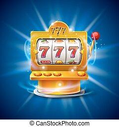 金色, 狭缝机器, 取得胜利, the, jackpot., 隔离, 在上, 蓝的背景