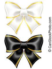 金色, 白色, 弓, 边缘, 黑色