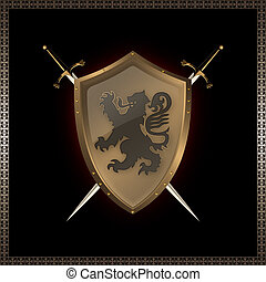 金色, 盾, swords.