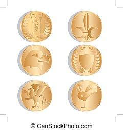金色, 硬币。, 古代, isolated., 背景。, 矢量, 白色