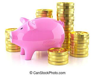 金色, 硬币, 猪一般的银行, 股票